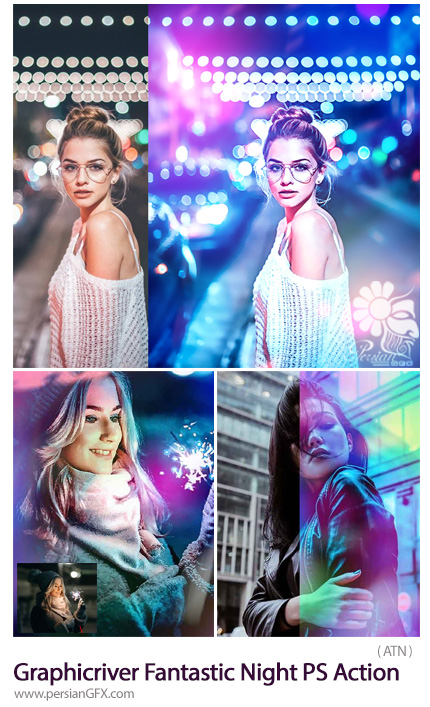 دانلود اکشن فتوشاپ ایجاد افکت نور رنگی زیبا بر روی تصاویر از گرافیک ریور - Graphicriver Fantastic Night PS Action