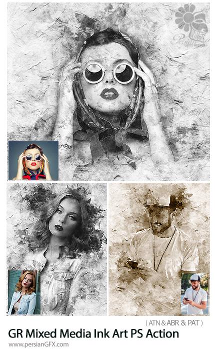 دانلود اکشن فتوشاپ ساخت تصاویر هنری با افکت جوهری از گرافیک ریور - Graphicriver Mixed Media Ink Art Photoshop Action