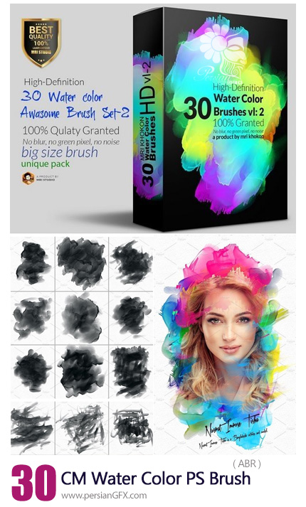 دانلود براش فتوشاپ لکه های آبرنگی - CM Hi-Res Water Color PS Brush