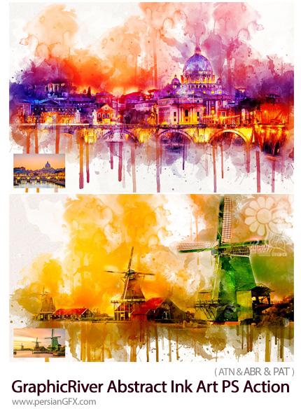 دانلود اکشن فتوشاپ ساخت تصاویر هنری با افکت جوهر پاشیده شده از گرافیک ریور - GraphicRiver Abstract Ink Art Photoshop Action