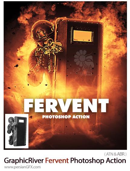 دانلود اکشن فتوشاپ ایجاد افکت آتش پر تلاطم بر روی تصاویر از گرافیک ریور - GraphicRiver Fervent Photoshop Action