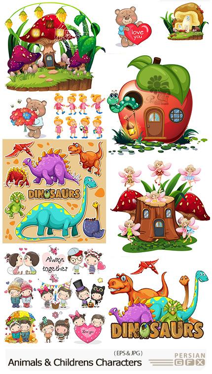 دانلود تصاویر وکتور کاراکترهای کارتونی فانتزی و کودکانه - Fantastic And Amusing Animals And Childrens Characters