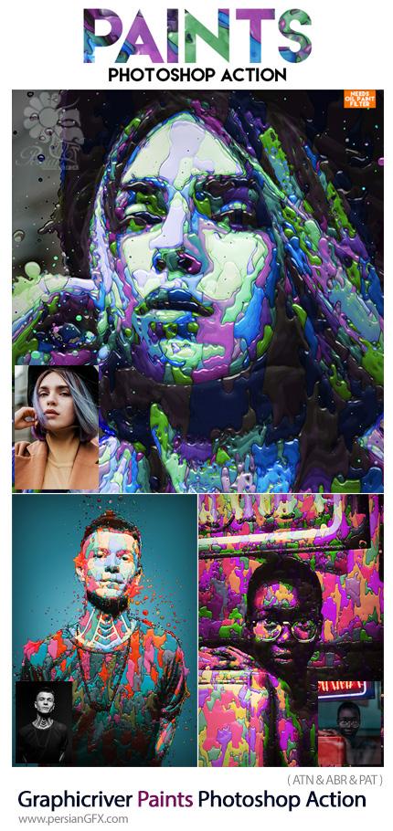 دانلود اکشن فتوشاپ ساخت نقاشی با افکت لکه های رنگی به همراه آموزش ویدئویی از گرافیک ریور - Graphicriver Paints Photoshop Action
