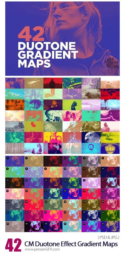 دانلود 42 گرادینت دورنگی برای فتوشاپ - CM 42 Duotone Effect Gradient Maps