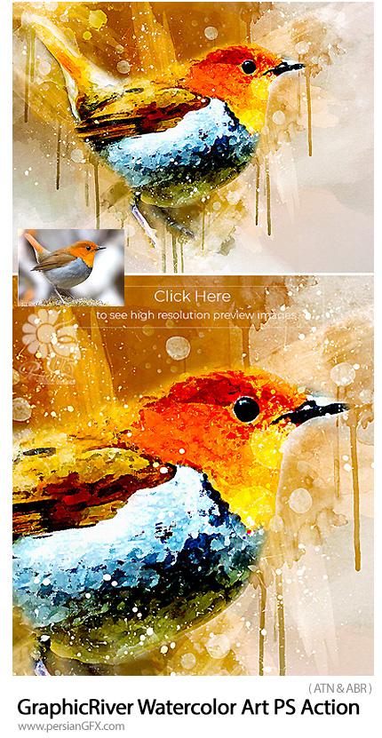 دانلود اکشن فتوشاپ تبدیل تصاویر به نقاشی آبرنگی از گرافیک ریور - GraphicRiver Watercolor Art Photoshop Action