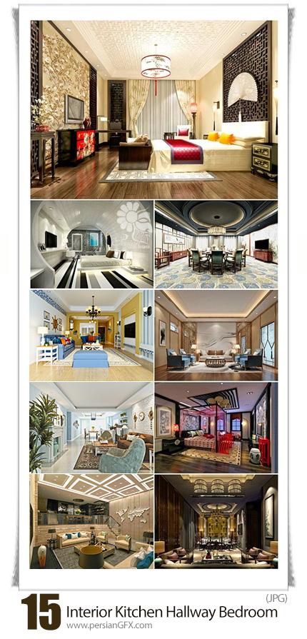 دانلود تصاویر با کیفیت طراحی داخلی خانه، آشپزخانه، سالن پذیرایی و اتاق خواب به سبک مدرن - Interior In Style Modern Kitchen Hallway Bedroom