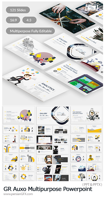دانلود قالب آماده تجاری پاورپوینت از گرافیک ریور - Graphicriver Auxo Premium Multipurpose Powerpoint Template