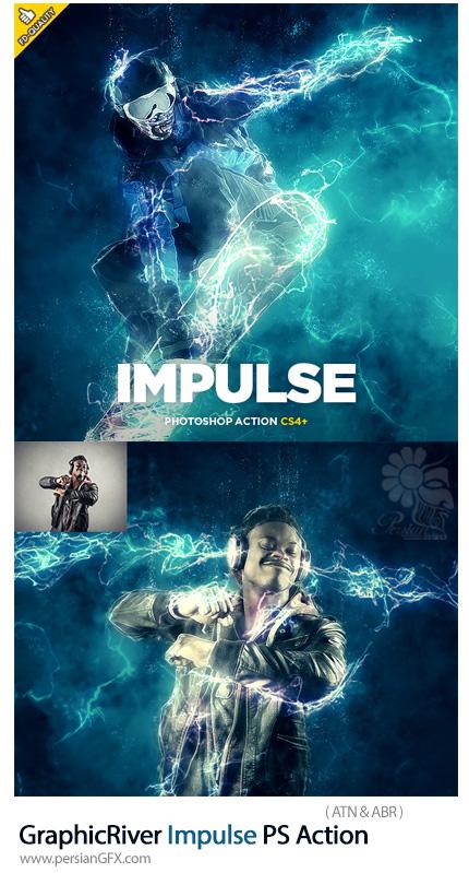 دانلود اکشن فتوشاپ ایجاد افکت جریان الکتریکی بر روی تصاویر به همراه آموزش ویدئویی از گرافیک ریور - GraphicRiver Impulse Photoshop Action