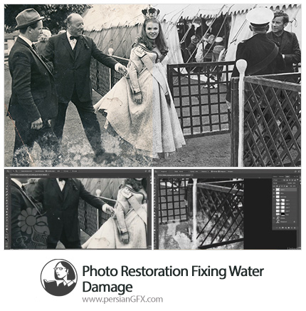 دانلود آموزش رفع اشکال آب ریختگی روی عکس در فتوشاپ از لیندا - Lynda Photo Restoration Fixing Water Damage