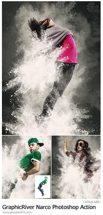 دانلود اکشن فتوشاپ ایجاد افکت پودر سفید پخش شده بر روی تصاویر به همراه آموزش ویدئویی از گرافیک ریور - GraphicRiver Narco Photoshop Action