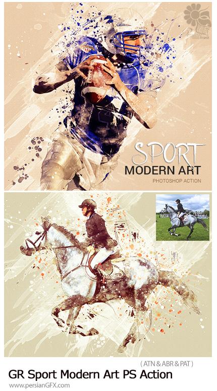 دانلود اکشن فتوشاپ ساخت تصاویر هنری با افکت لکه های رنگی به همراه آموزش ویدئویی از گرافیک ریور - GraphicRiver Sport Modern Art Photoshop Action