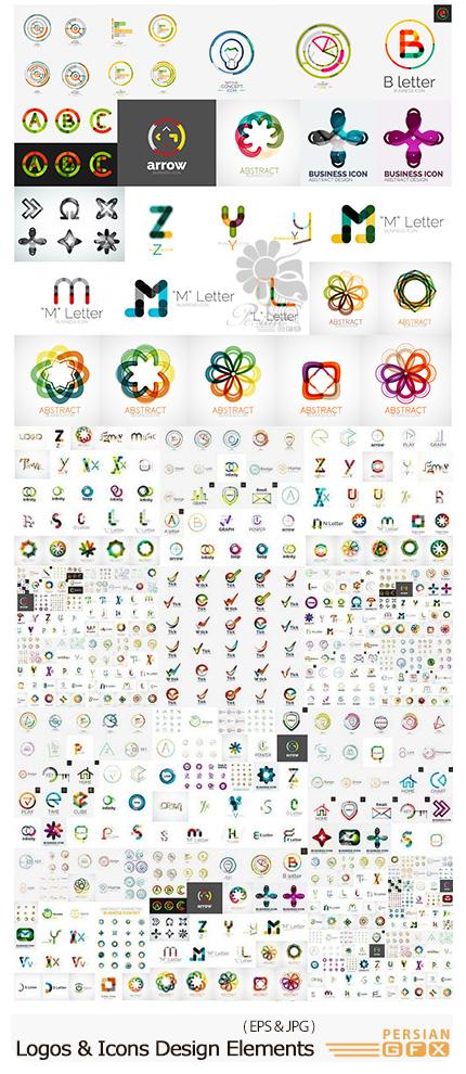 دانلود مجموعه تصاویر وکتور عناصر طراحی آرم و لوگو - Logos And Icons Design Elements