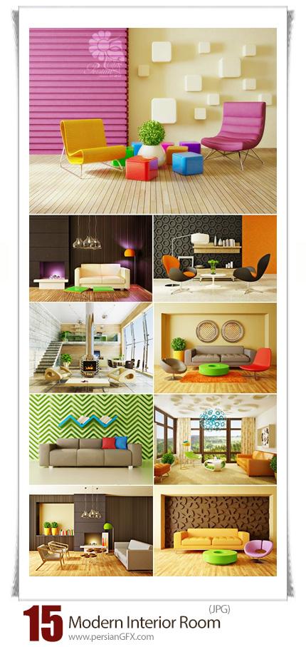 دانلود تصاویر با کیفیت طراحی داخلی اتاق با مبلمان - Modern Interior Room With Nice Furniture Inside