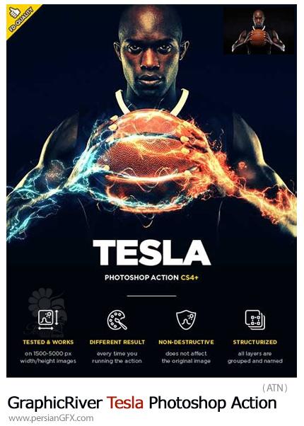 دانلود اکشن فتوشاپ ایجاد افکت جریان الکتریکی رنگی بر روی تصاویر از گرافیک ریور - GraphicRiver Tesla Photoshop Action
