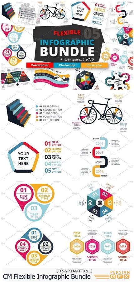 دانلود مجموعه تصاویر وکتور نمودار های اینفوگرافیکی متنوع - CM Flexible Infographic Bundle