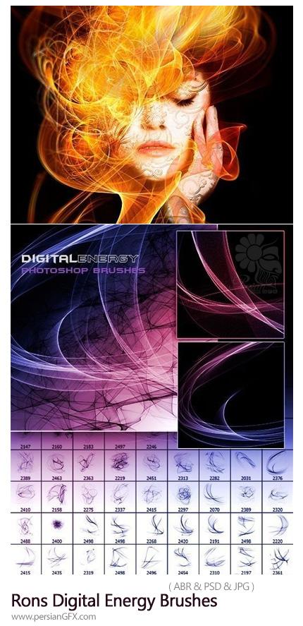 دانلود براش فتوشاپ خطوط انرژی دیجیتالی - Rons Digital Energy Brushes