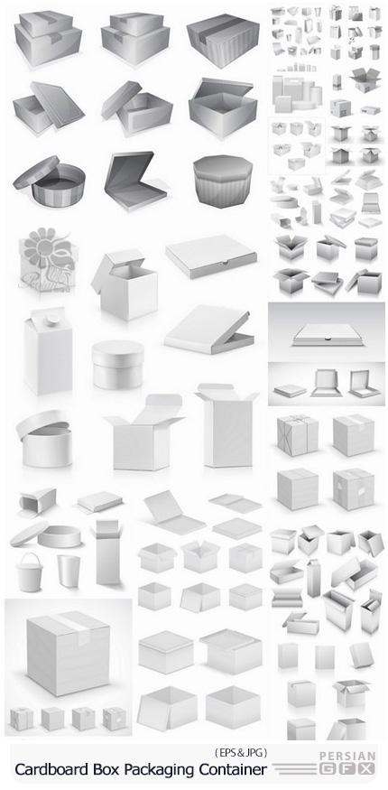 دانلود مجموعه تصاویر وکتور بسته بندی مقوایی مواد غذایی و ... - Cardboard Box Packaging Container For Food And Things