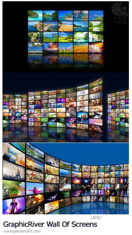دانلود اکشن فتوشاپ تبدیل تصاویر به صفحه نمایش دیواری به همراه آموزش ویدئویی - GraphicRiver Wall Of Screens