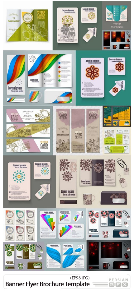 دانلود تصاویر وکتور قالب آماده ست اداری، بروشور، فلایر، کارت ویزیت و ... - Banner Flyer Brochure Template Example Farm Farming