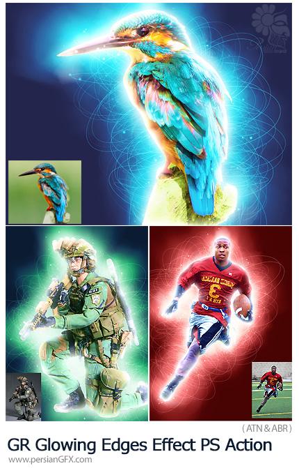 دانلود اکشن فتوشاپ ایجاد افکت لبه های درخشان بر روی تصاویر از گرافیک ریور - GraphicRiver Glowing Edges Effect Photoshop Action