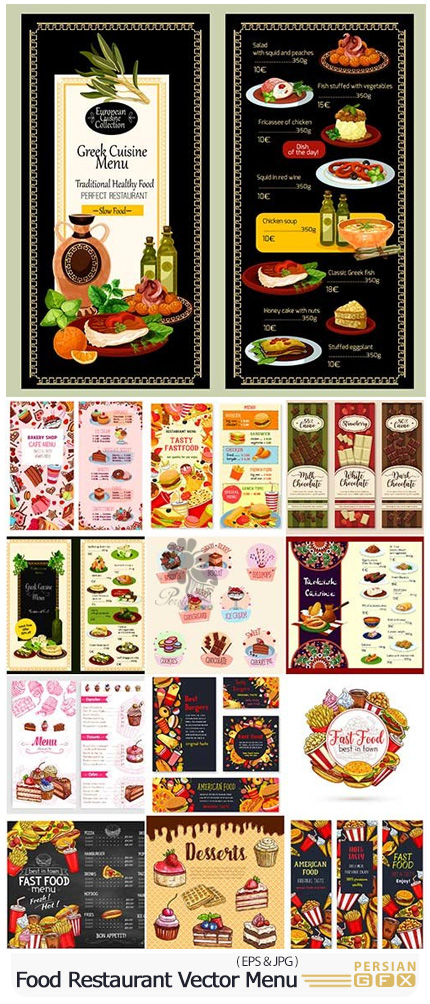 دانلود تصاویر وکتور منوی رستوران، فست فود، شیرینی، شکلات - Food Restaurant Vector Menu