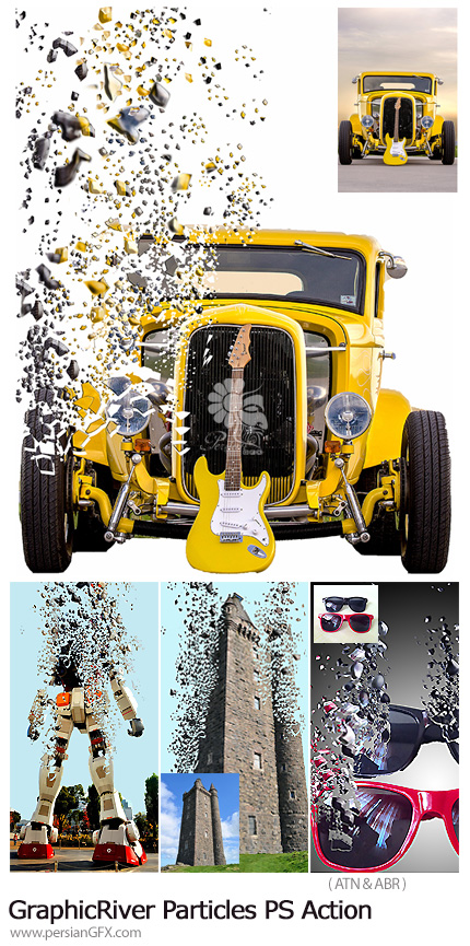 دانلود اکشن فتوشاپ ایجاد افکت پراکندگی ذرات بر روی تصاویر از گرافیک ریور - GraphicRiver Particles Photoshop Action