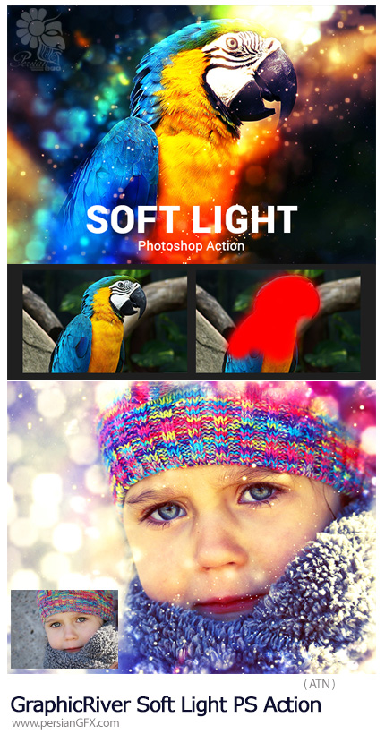 دانلود اکشن فتوشاپ ایجاد افکت بوکه های نورانی رنگی بر روی تصاویر به همراه آموزش ویدئویی از گرافیک ریور - GraphicRiver Soft Light Photoshop Action