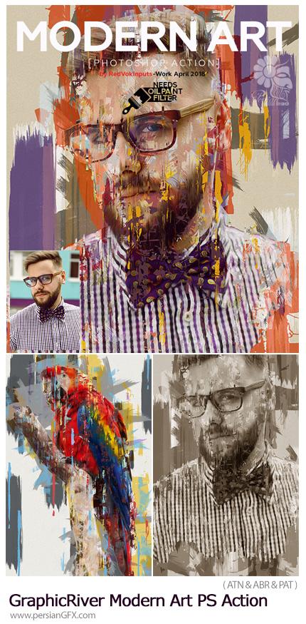 دانلود اکشن فتوشاپ ساخت تصاویر هنری با افکت نقاشی رنگ روغن از گرافیک ریور - GraphicRiver Modern Art Photoshop Action