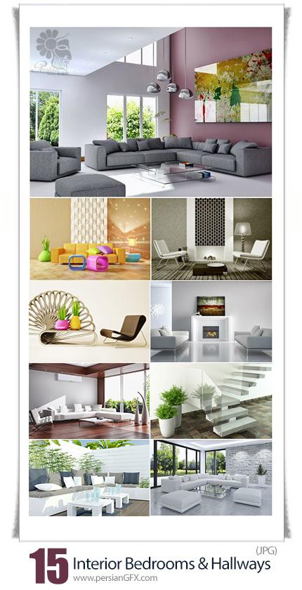 دانلود تصاویر با کیفیت طراحی داخلی مدرن اتاق و سالن پذیرایی خانه - Interior In Modern Style Bedrooms And Hallways Room
