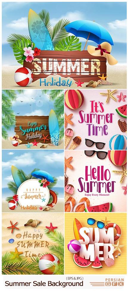 دانلود تصاویر وکتور بک گراندهای تخفیف تابستانی - Summer Vector Design Template Sale Background