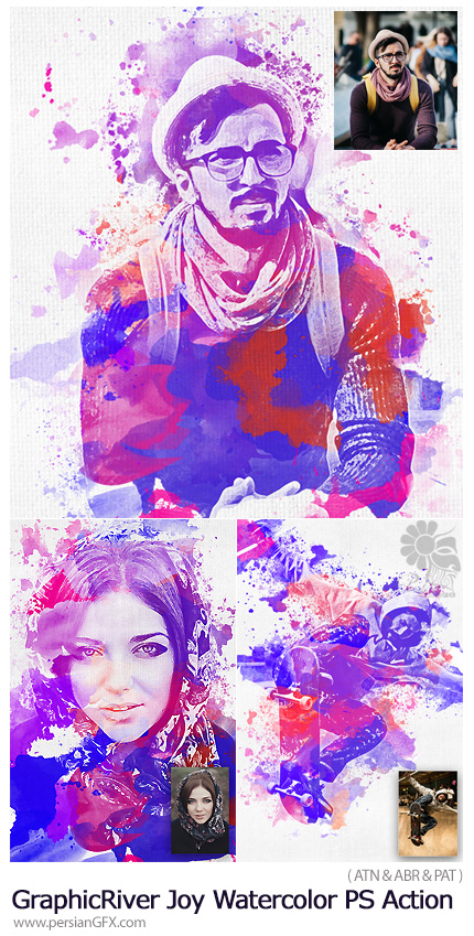 دانلود اکشن فتوشاپ تبدیل تصاویر به نقاشی آبرنگی فانتزی به همراه آموزش ویدئویی از گرافیک ریور - GraphicRiver Joy Watercolor Photoshop Action