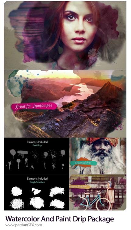 دانلود پروژه آماده افترافکت اسلایدشو تصاویر با افکت لکه های آبرنگی - Watercolor And Paint Drip Package