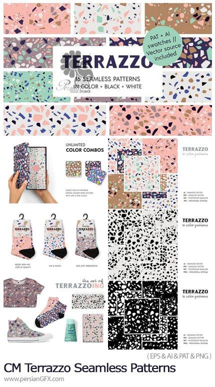 دانلود مجموعه پترن وکتور و فتوشاپ با طرح های رنگی و سیاه و سفید اشکال خرد شده - CM Terrazzo Seamless Patterns