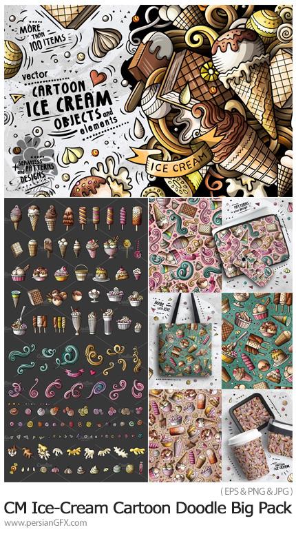 دانلود مجموعه عناصر طراحی و پترن وکتور با طرح های کارتونی شکلات و بستنی - CM Ice-Cream Cartoon Doodle Big Pack