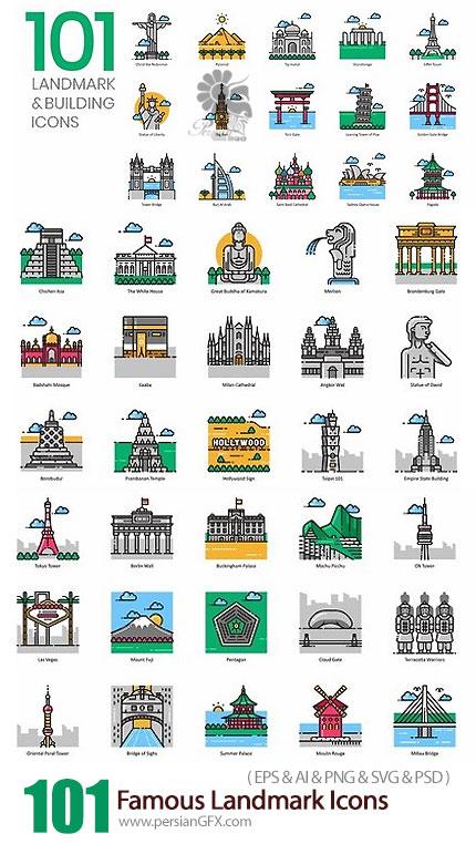 دانلود 101 آیکون وکتور مکان های معروف متنوع - 101 Famous Landmark Icons