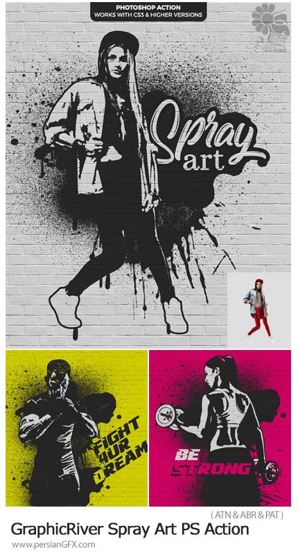 دانلود اکشن فتوشاپ تبدیل تصاویر به نقاشی روی دیوار با اسپری از گرافیک ریور - GraphicRiver Spray Art Photoshop Action