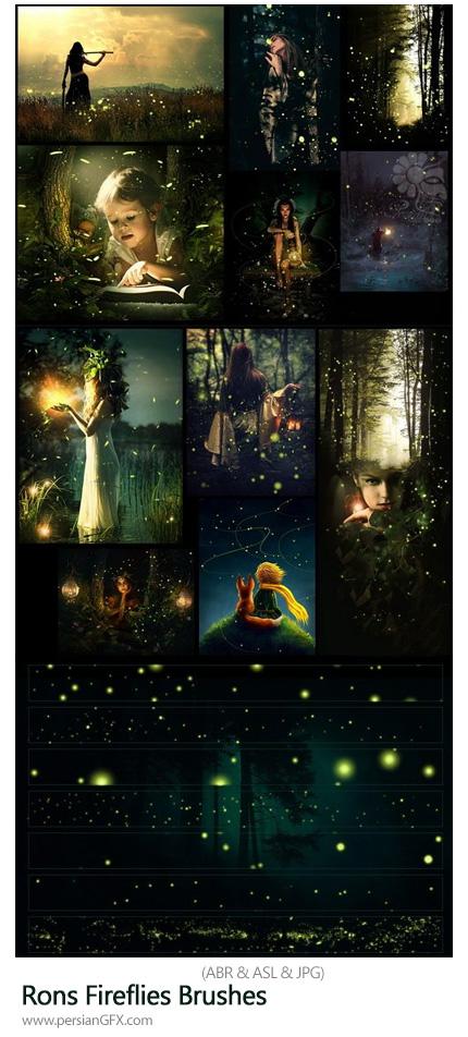 دانلود مجموعه براش فتوشاپ کرم شب تاب نورانی - Rons Fireflies Brushes