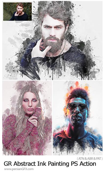 دانلود اکشن فتوشاپ تبدیل تصاویر به نقاشی جوهری انتزاعی از گرافیک ریور - GraphicRiver Abstract Ink Painting Photoshop Action
