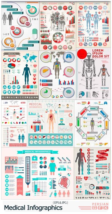 دانلود تصاویر وکتور نمودارهای اینفوگرافیکی پزشکی - Medical Infographics