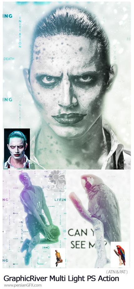 دانلود اکشن فتوشاپ ایجاد افکت نورهای رنگی بر روی تصاویر از گرافیک ریور - GraphicRiver Multi Light Photoshop Action