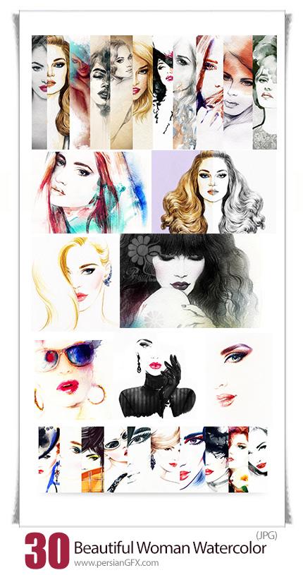 دانلود تصاویر با کیفیت نقاشی پرتره زن - Beautiful Woman Face Watercolor