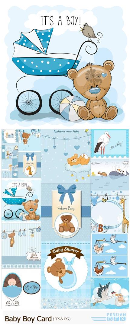 دانلود تصاویر وکتور کارت پستال کارتونی پسرانه - Baby Boy Card