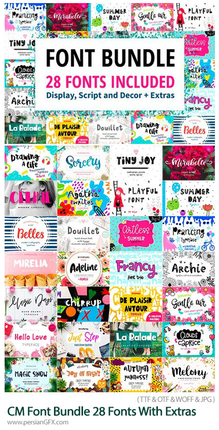 دانلود 28 فونت انگلیسی با طرح های متنوع - CM Font Bundle 28 Fonts With Extras