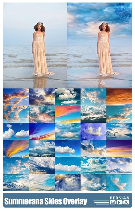 دانلود مجموعه تصاویر کلیپ آرت و اکشن فتوشاپ آسمان متنوع - Summerana Skies Overlay And Action Collection