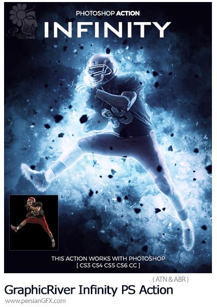 دانلود اکشن فتوشاپ ایجاد افکت جنگی بر روی تصاویر از گرافیک ریور - GraphicRiver Infinity Photoshop Action