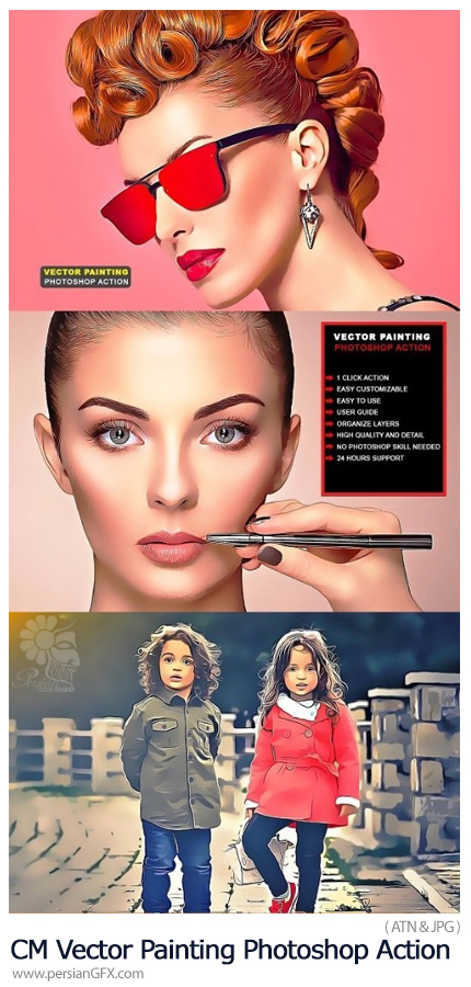 دانلود اکشن فتوشاپ تبدیل تصاویر به نقاشی وکتور کارتونی - CreativeMarket Vector Painting Photoshop Action