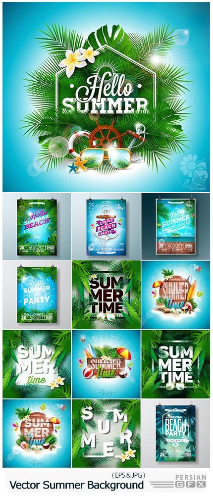 دانلود تصاویر وکتور بک گراند های تابستانی - Vector Summer Party Background