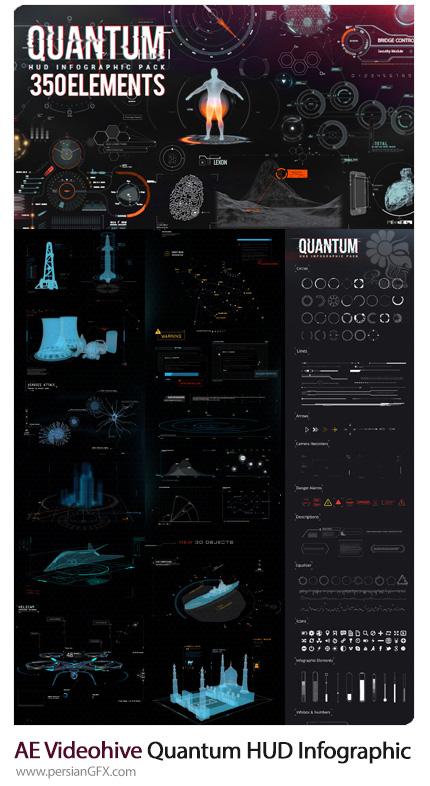 دانلود پروژه آماده افترافکت عناصر اینفوگرافیکی کوانتوم HUD برای ساخت ویدئوهای تکنولوژیک و ... از ویدئوهایو - Videohive Quantum HUD Infographic