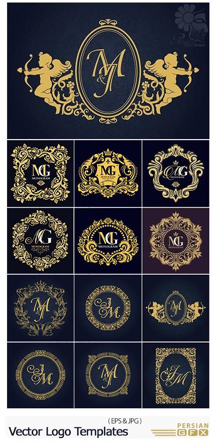 دانلود مجموعه تصاویر وکتور قالب آماده لوگو با فریم های تزئینی متنوع - Vector Logo Templates With Decorative Frame