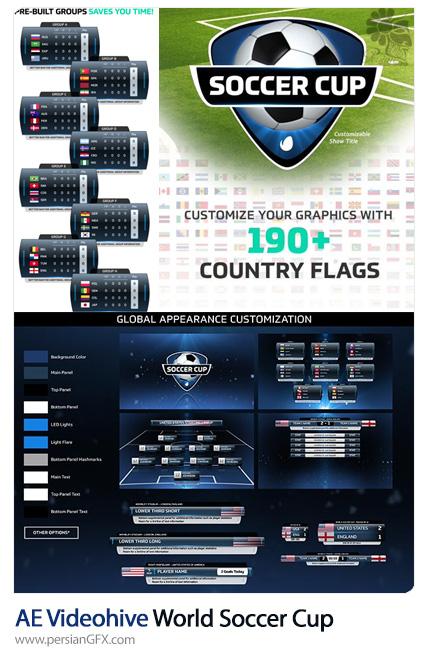 دانلود کیت طراحی مسابقات تلویزیونی جام جهانی فوتبال در افترافکت به همراه آموزش ویدئویی از ویدئوهایو - Videohive World Soccer Cup International Futbol Package